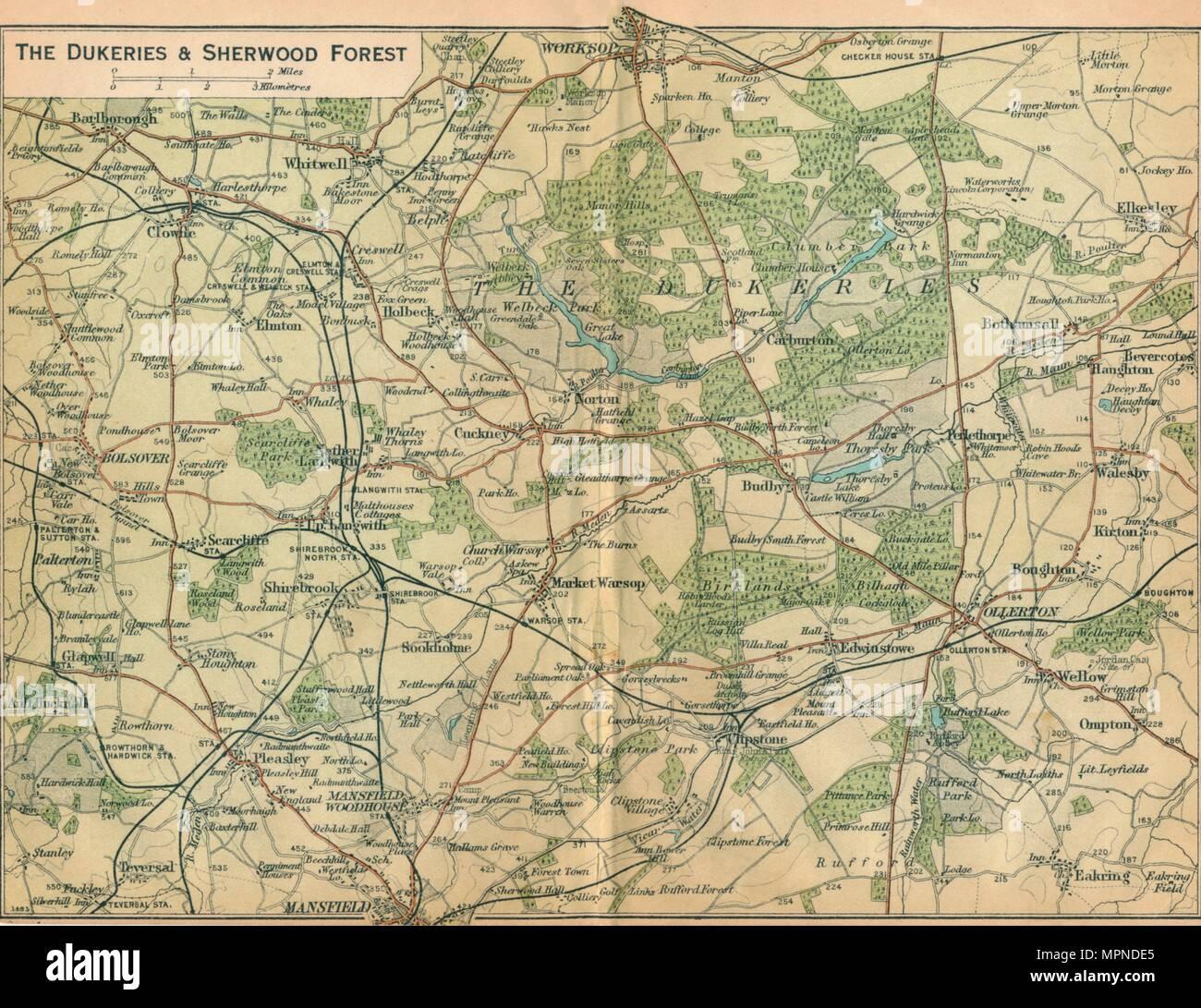'The Dukeries & Sherwood Forest', c20th Century. Artist: John Bartholomew. - Stock Image