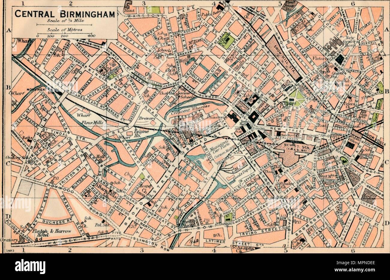 'Central Birmingham', c20th Century. Artist: John Bartholomew. - Stock Image