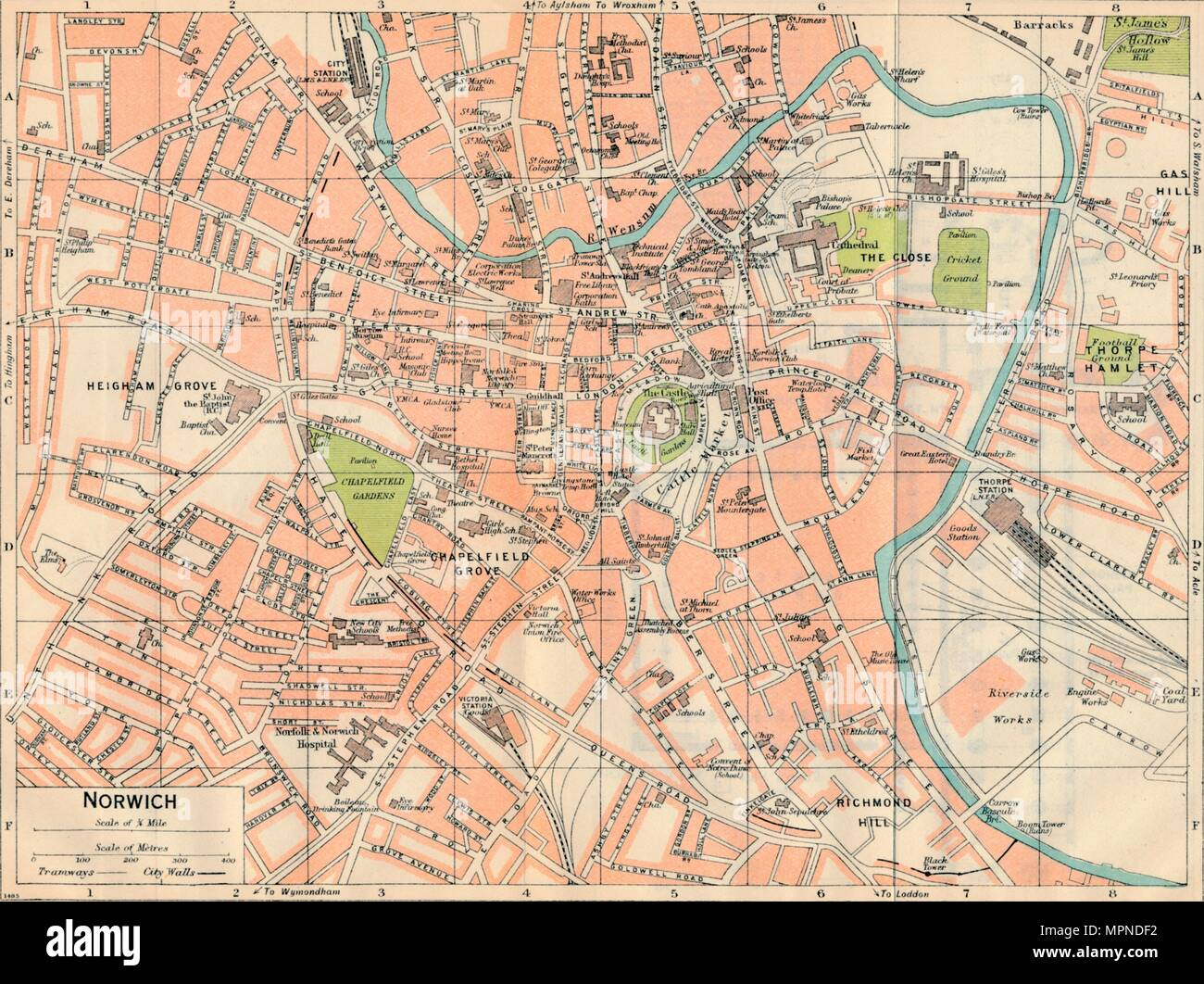 'Norwich', c20th Century. Artist: John Bartholomew. - Stock Image