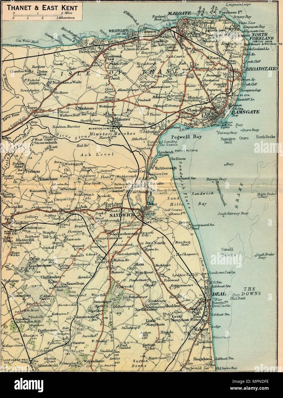 'Thanet & East Kent', c20th Century. Artist: John Bartholomew. - Stock Image