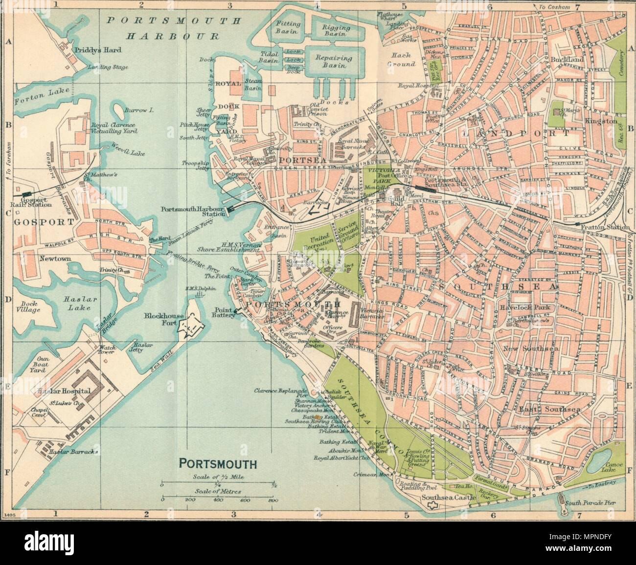 'Portsmouth', c20th Century. Artist: John Bartholomew. - Stock Image