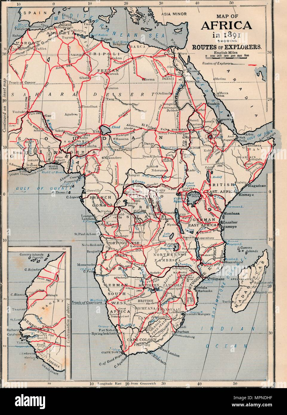 'Map of Africa in 1891 showing Routes of Explorers'. Artist: Unknown. - Stock Image