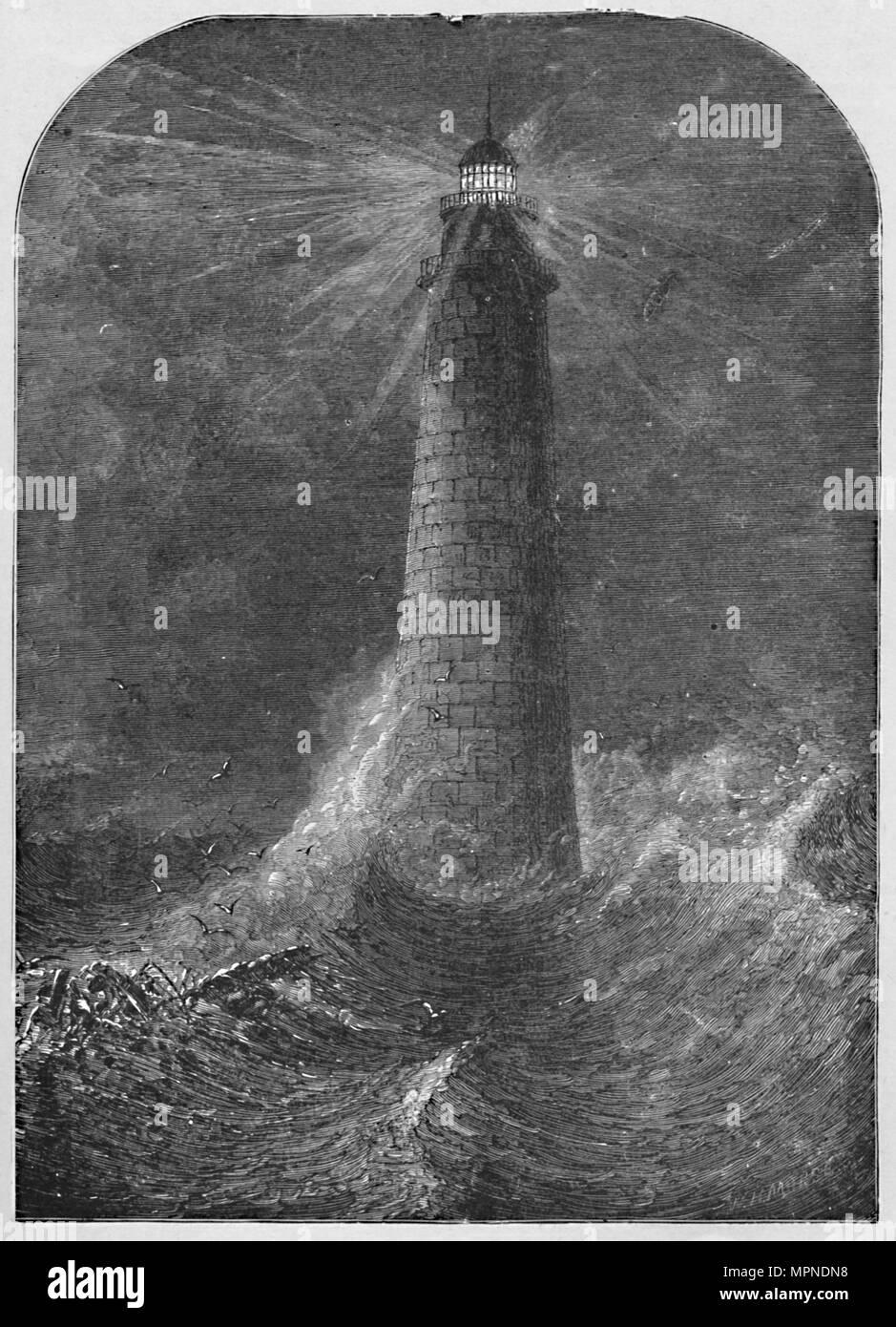 'Minot's Ledge Light-House, Massachusetts', 1877, (1883). Artist: W.H. Morse. - Stock Image