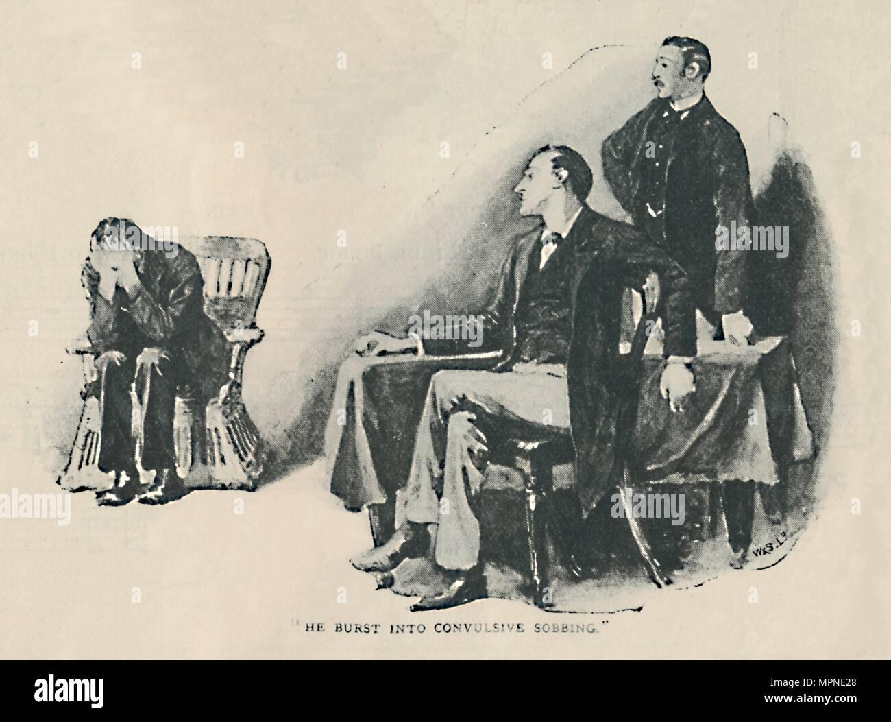 'He Burst Into Convulsive Sobbing', 1892. Artist: Sidney E Paget. - Stock Image