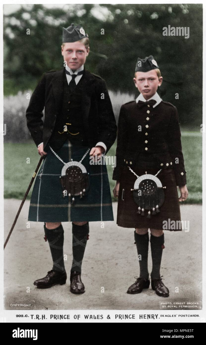 The Prince of Wales and Prince Henry, c1910(?). Artist: Ernest Brooks. - Stock Image