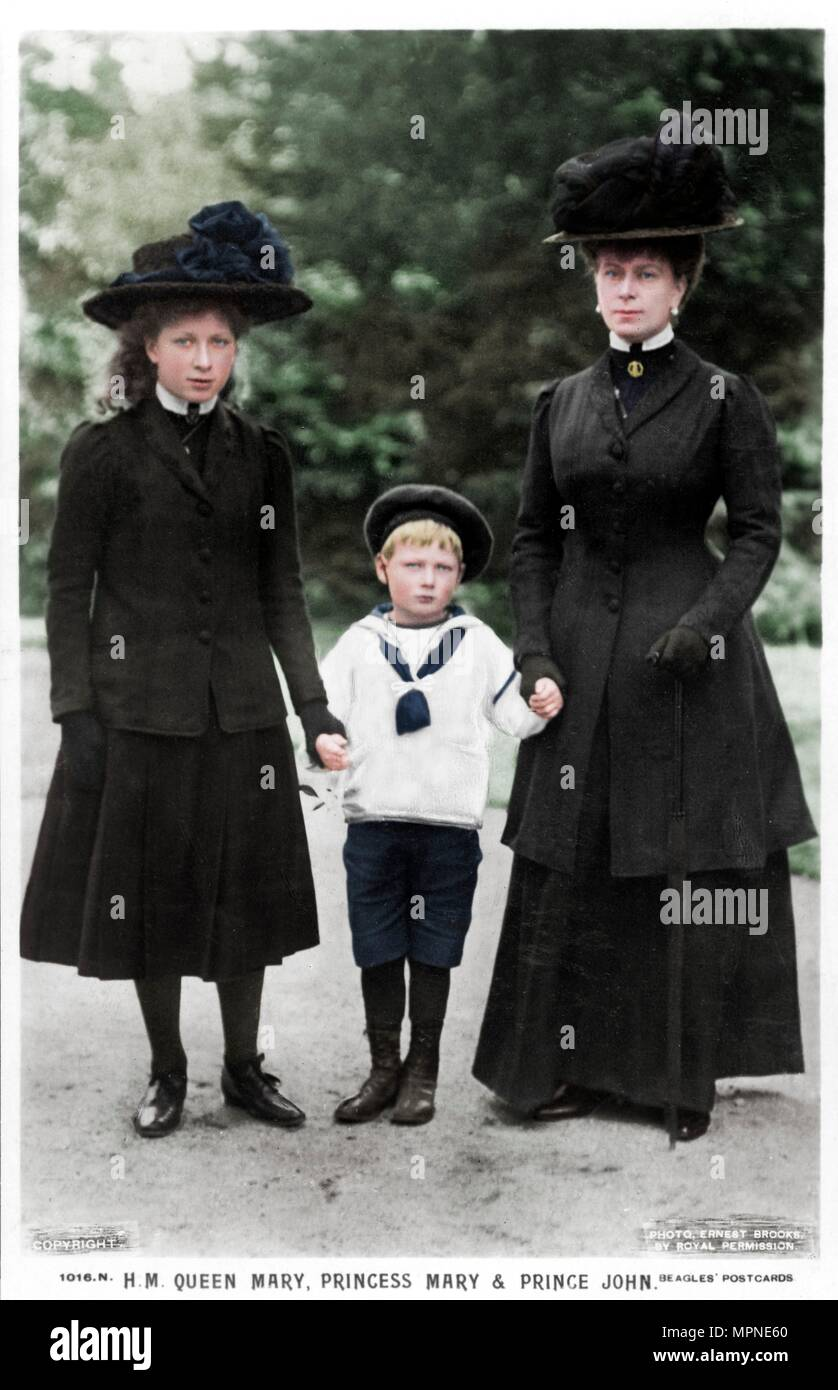Queen Mary, Princess Mary and Prince John, 1910s. Artist: Ernest Brooks. - Stock Image