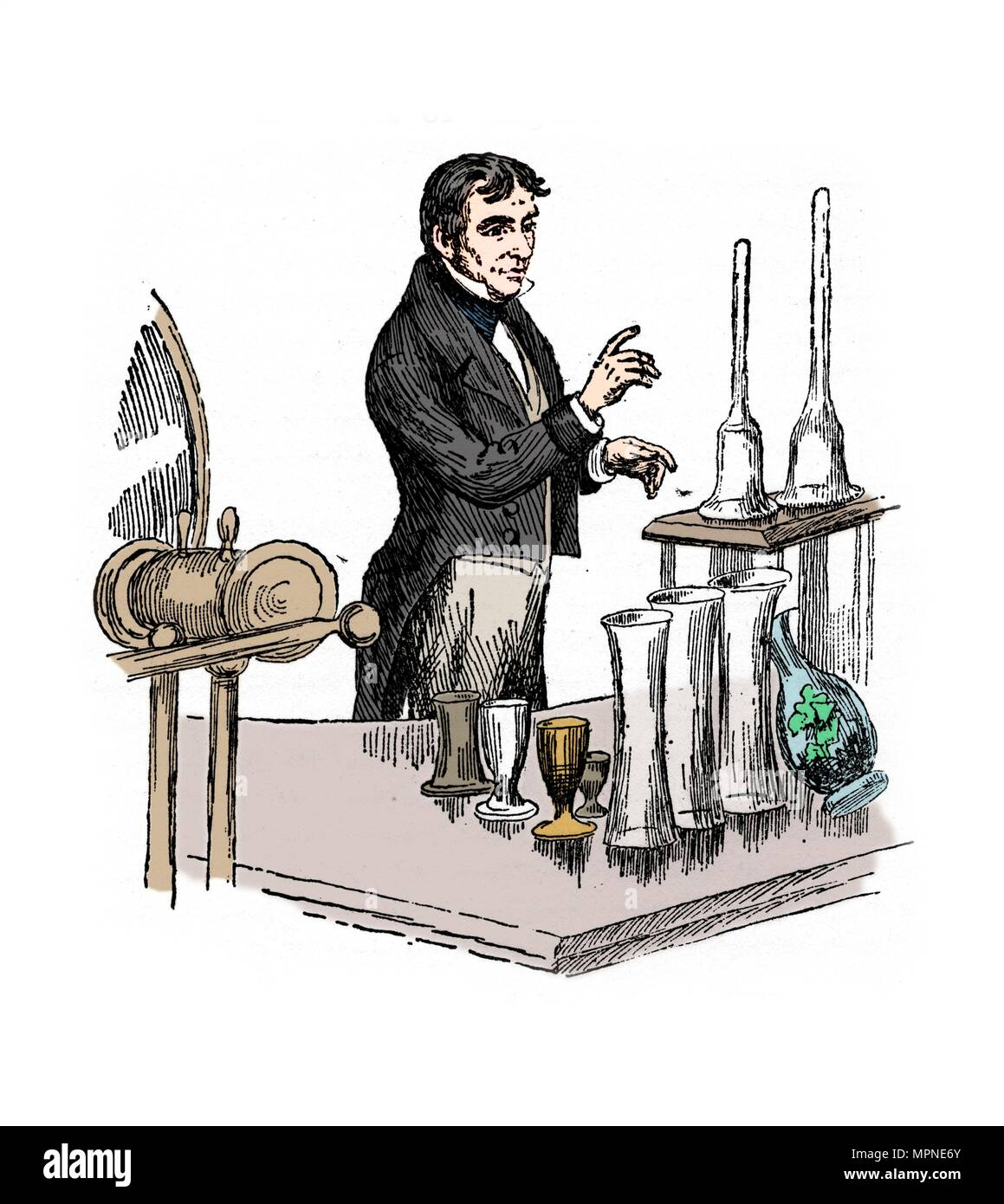 Michael Faraday lecturing at the Royal Institution, London, 1835 (20th century).  Artist: Unknown. - Stock Image