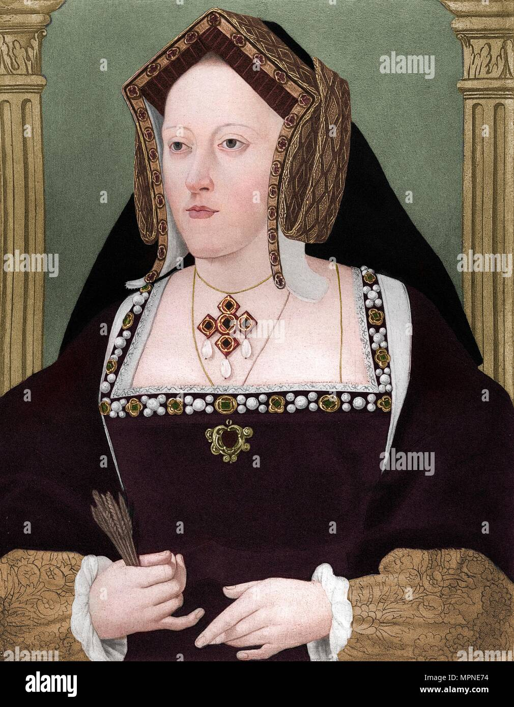 'Catherine of Aragon', c1515, (1902). Artist: Unknown. - Stock Image