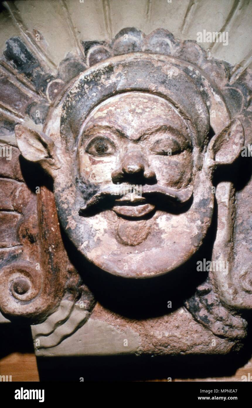 Etruscan Terracotta Antefix, Head of Silenus, from sanctuary of Portonaccio, 6th-5th century BC. Artist: Unknown. - Stock Image
