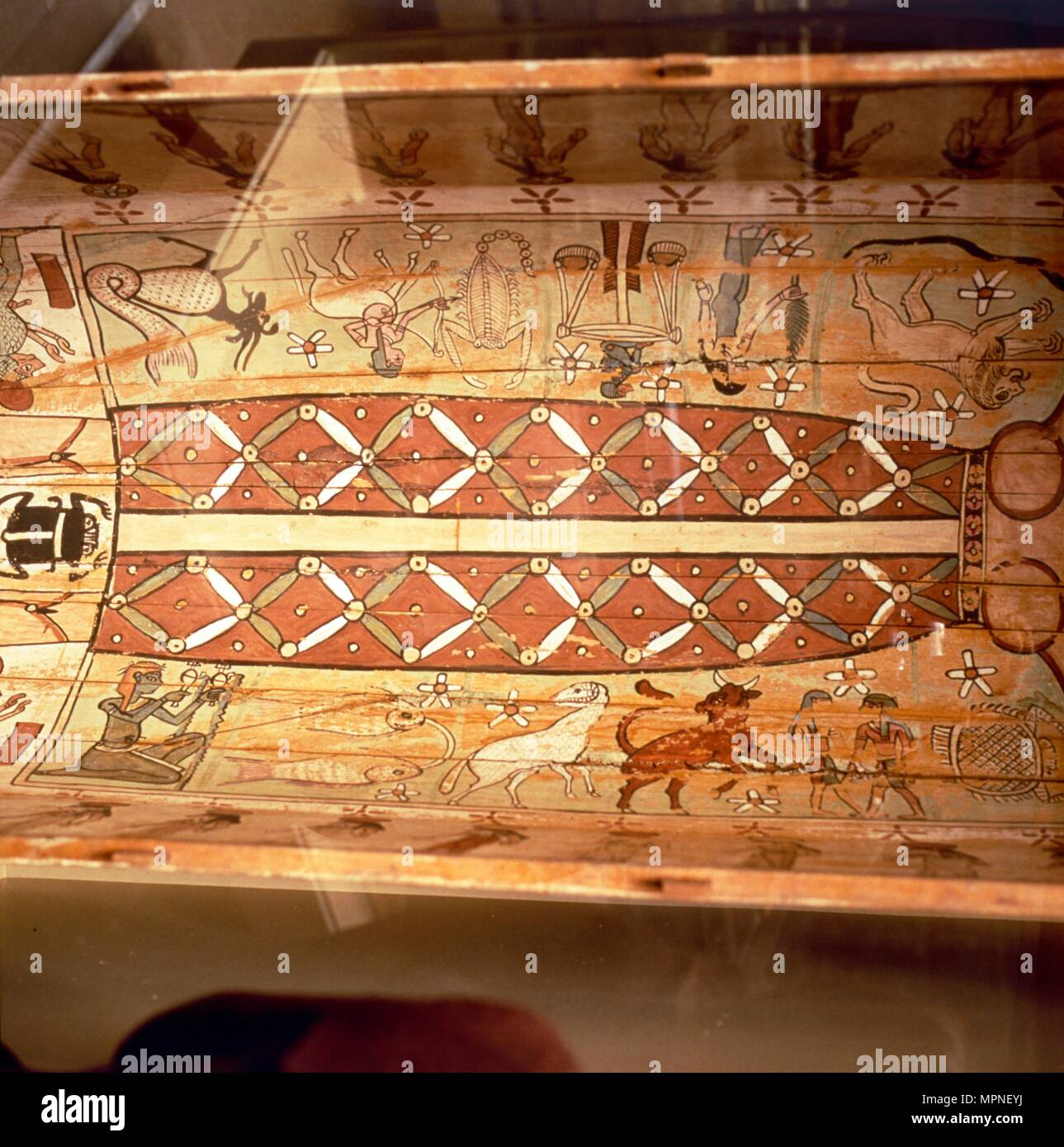 Interior of Egyptian Coffin with Sky - Goddess Nut and Zodiac Signs, 2nd century. Artist: Unknown. Stock Photo