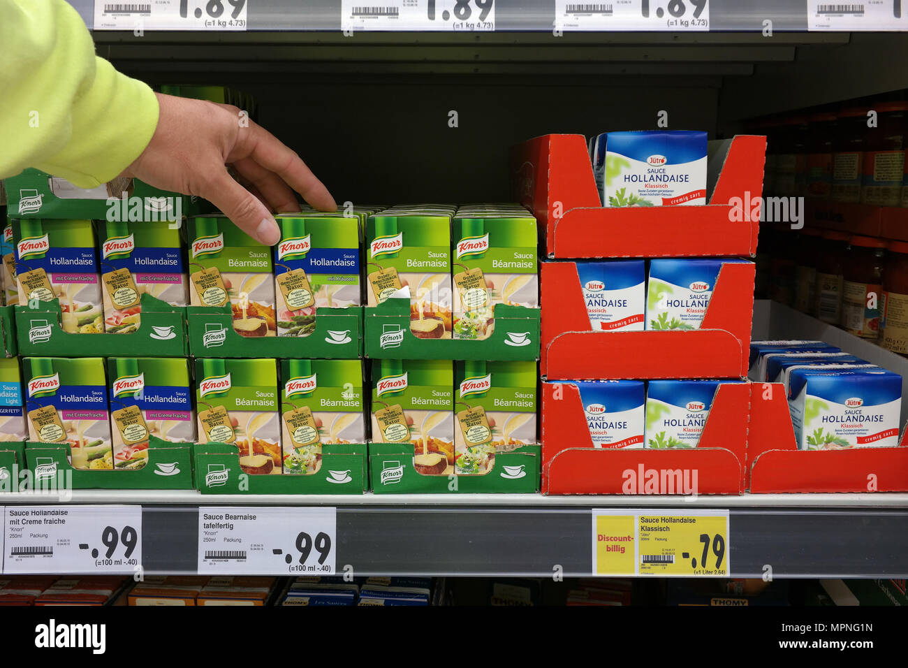 Knorr ready-to-use cartons in a store - Stock Image