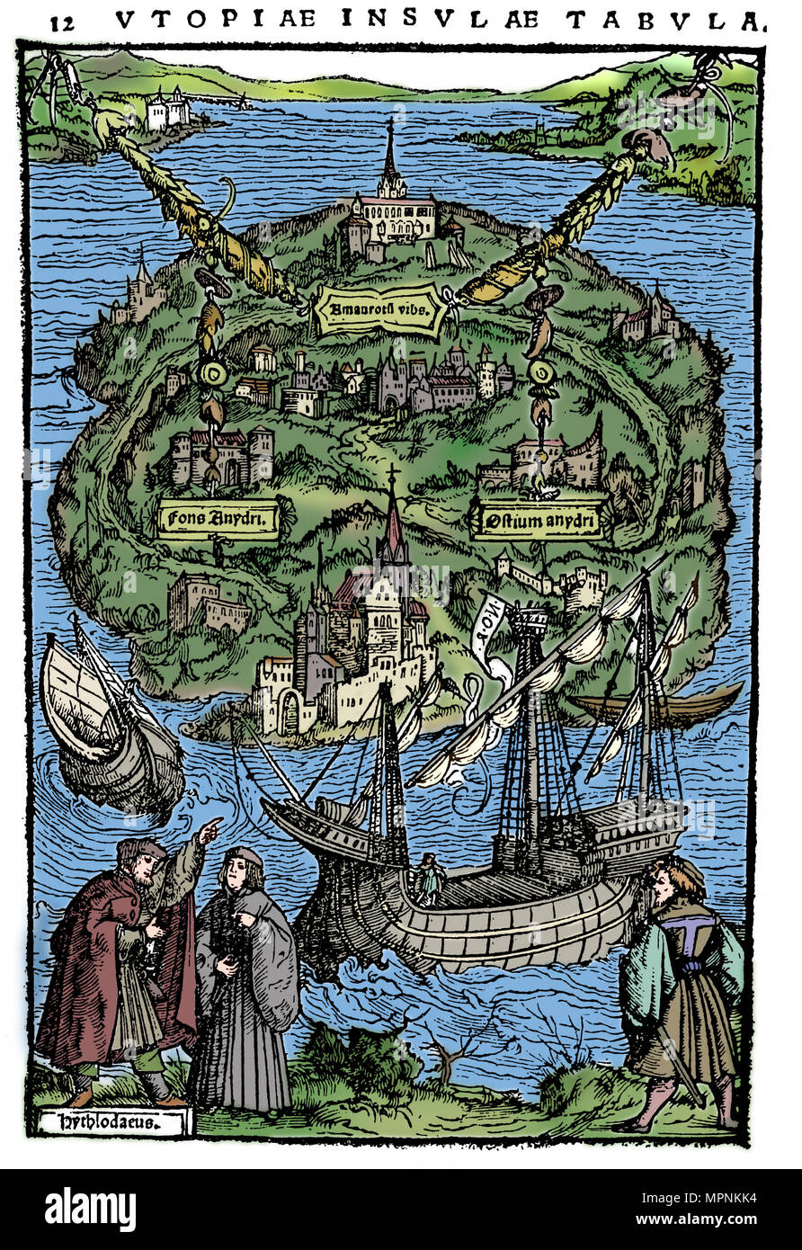Plan of the island of Utopia, 1518. Artist: Unknown. - Stock Image