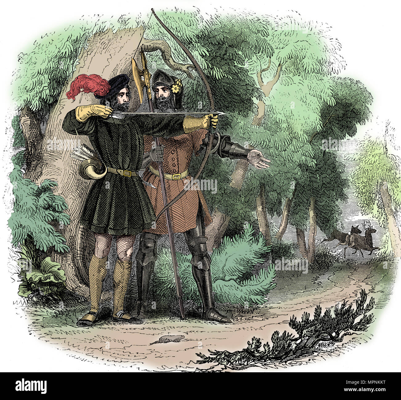 Robin Hood, legendary English folk hero and outlaw and champion of the poor, early 19th century. Artist: Unknown. - Stock Image