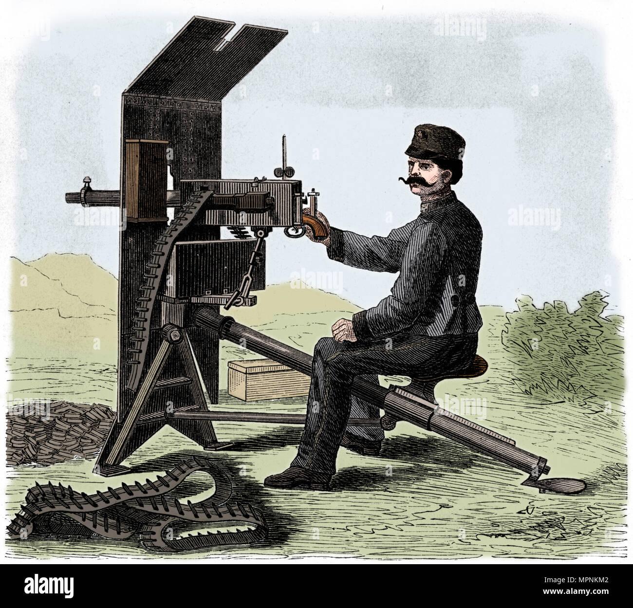 Maxim machine gun, c1895.   Artist: Anon. - Stock Image