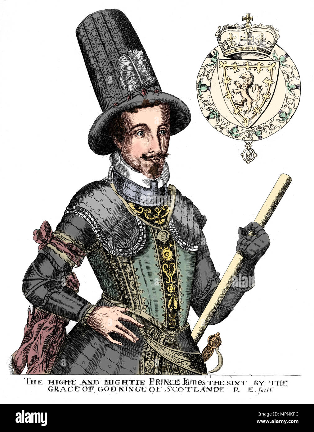 James I, King of England, Scotland and Ireland. Artist: Unknown. - Stock Image