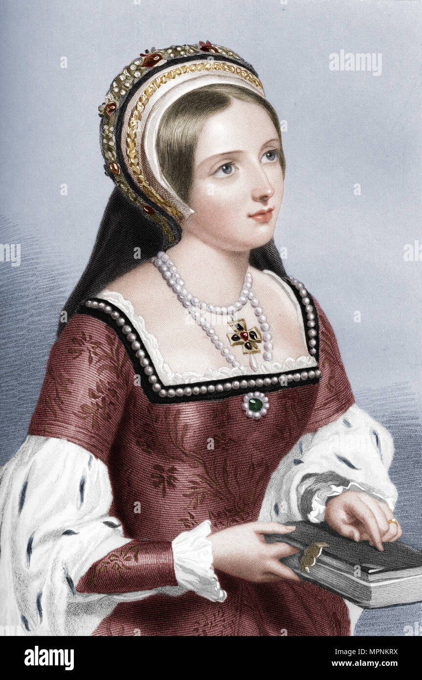 Catherine Parr (1512-1548), the sixth wife of King Henry VIII, 1851. Artist: William Henry Mote. - Stock Image
