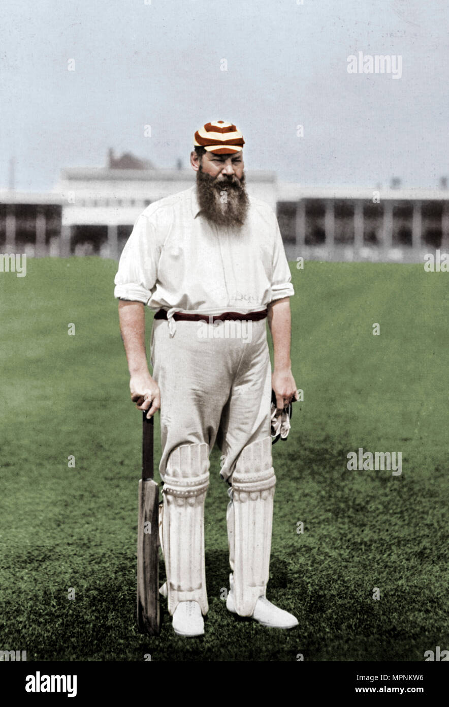 Dr WG Grace, English cricketer, playing for London County Cricket Club, c1899. Artist: WA Rouch. - Stock Image