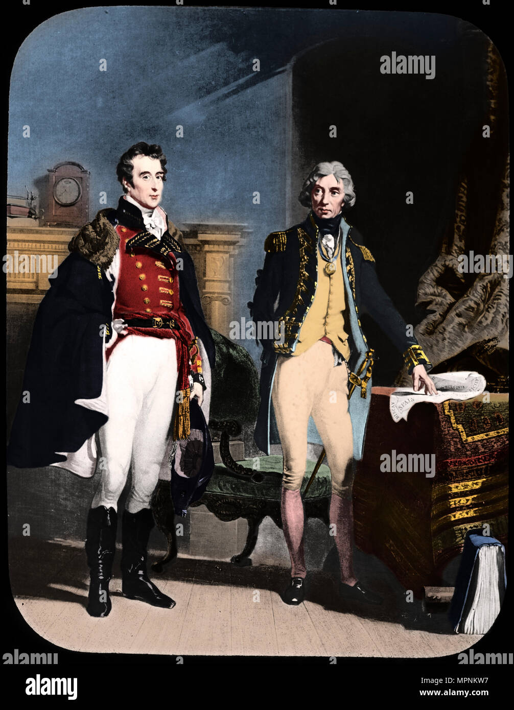 The Army and Navy, Wellington and Nelson, c1805.  Artist: Newton & Co. - Stock Image