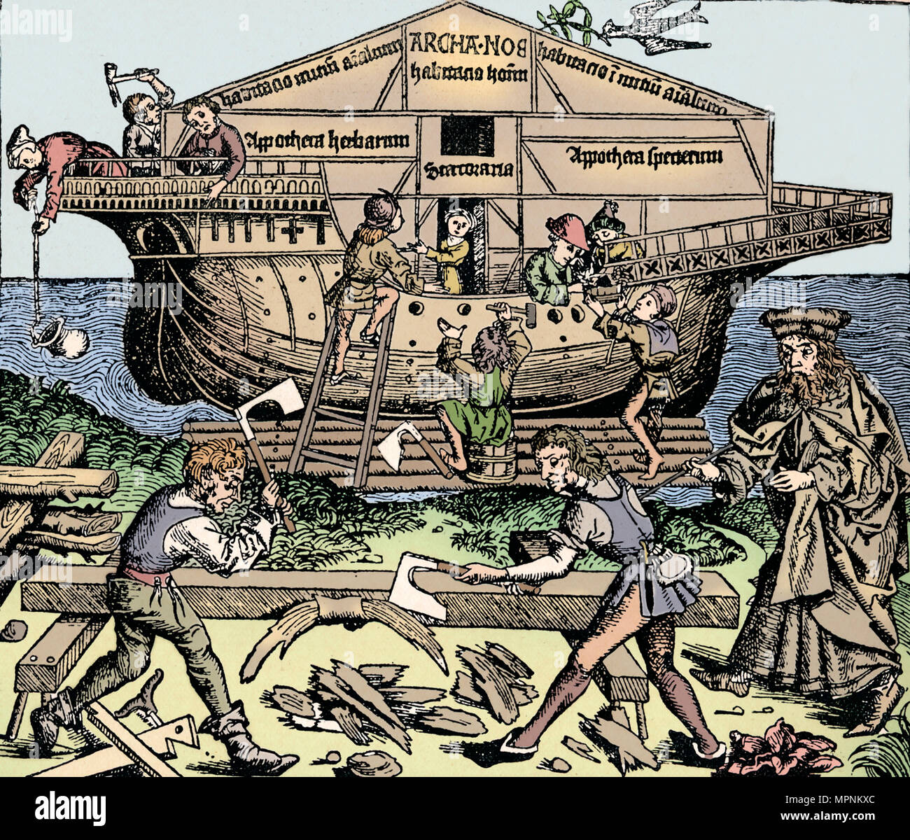 The Building of the Ark Superintended by Noah, (1493), 1903. Artist: Unknown. - Stock Image