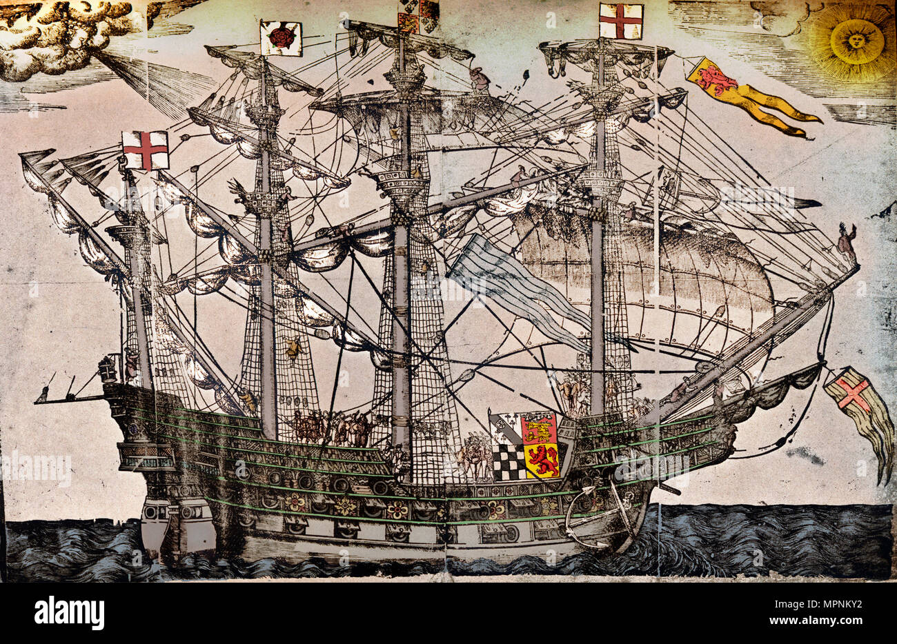 A woodcut of a ship which is believed to be The Ark Royal, c1587. Artist: Unknown. - Stock Image
