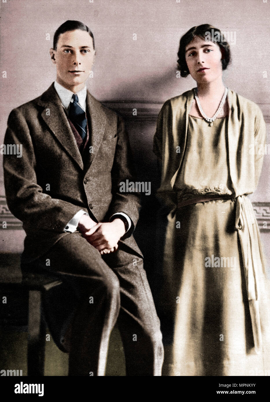 'Lady Elizabeth Bowes Lyon and the Duke of York upon the announcement of their engagement', 1923. Artist: Vandyk. - Stock Image