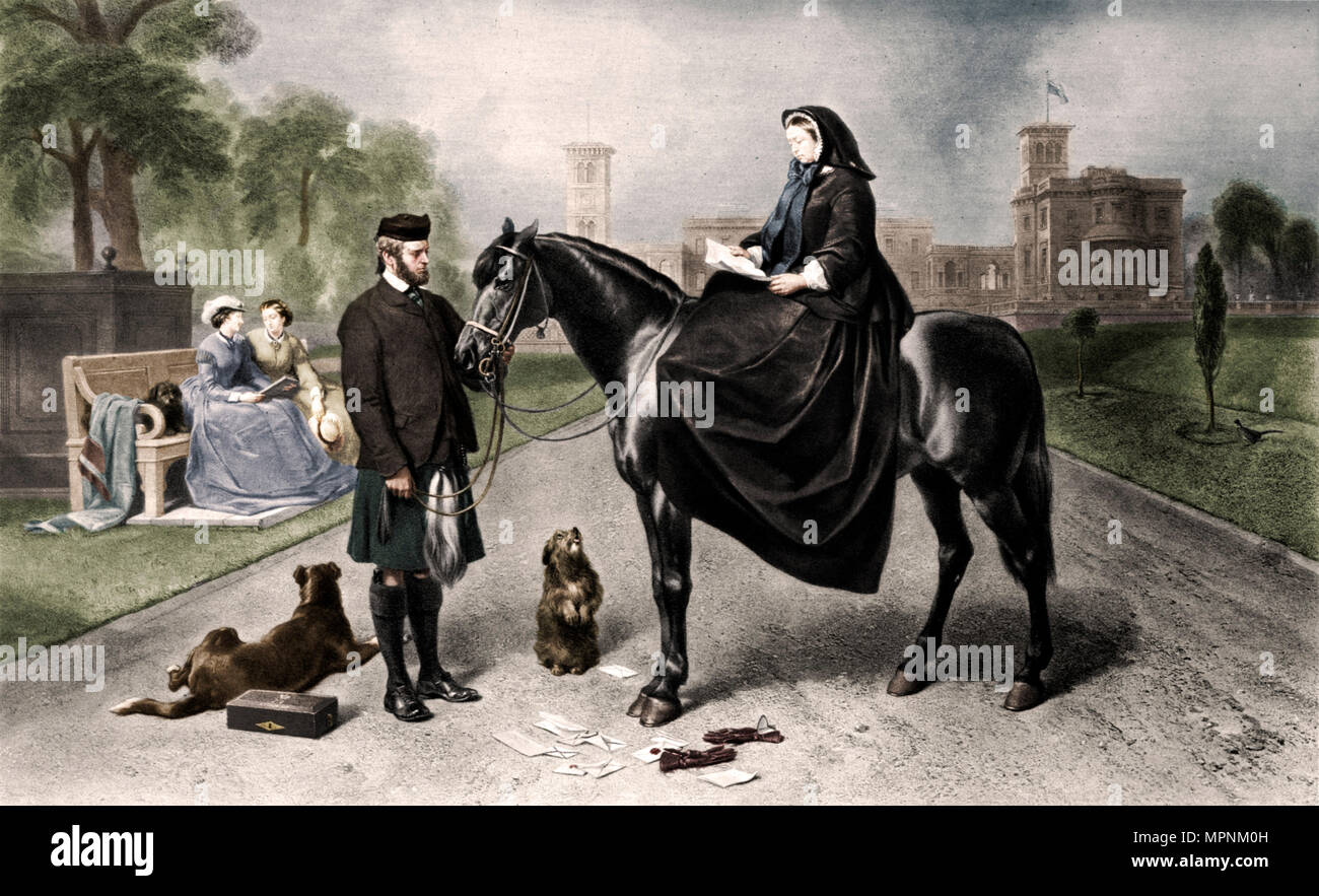 'Queen Victoria at Osborne House', 1865 (1906). Artist: Unknown. - Stock Image
