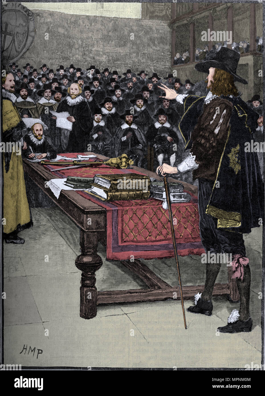 The trial of King Charles I, 1649 (1905).  Artist: Unknown. - Stock Image