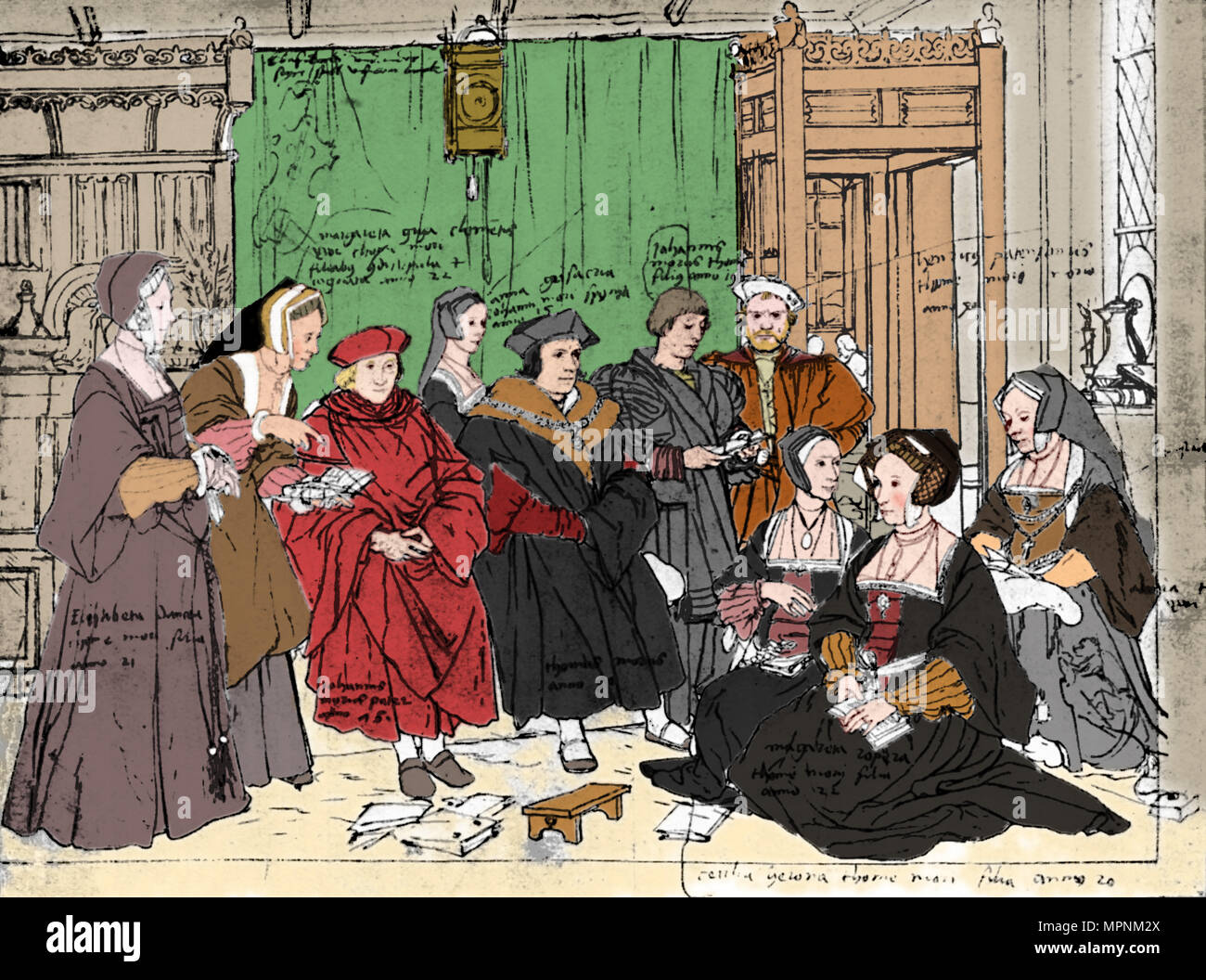 'The More Family, from the Sketch by Holbein at Basle Museum', 1527, (1903). Artist: Hans Holbein the Younger. - Stock Image