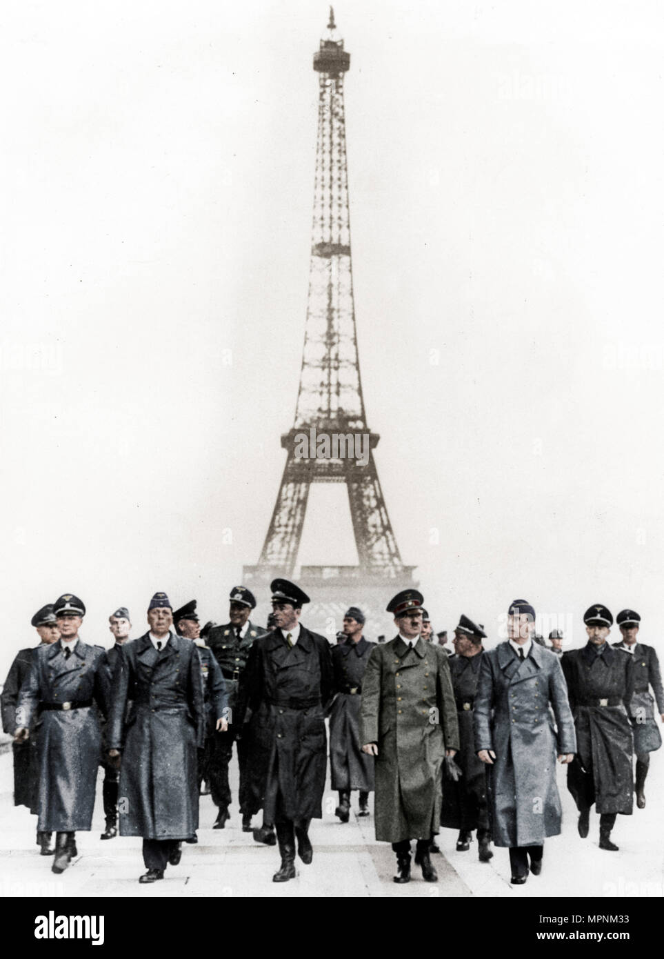 Adolf Hitler, German Nazi dictator, inspecting occupied Paris, France, 1940.  Artist: Unknown. - Stock Image