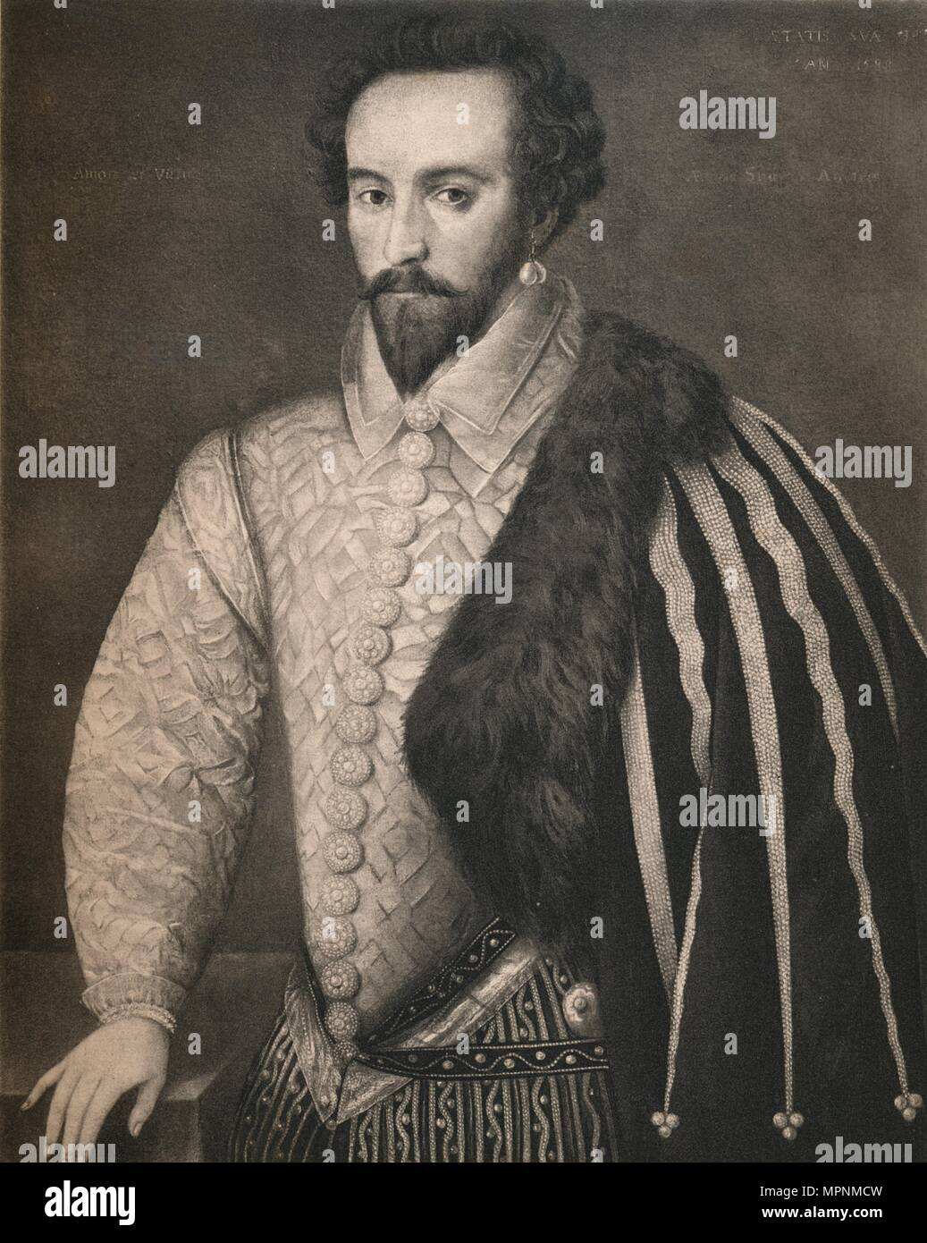 'Sir Walter Raleigh', 1588, (1904). Artist: Unknown. - Stock Image