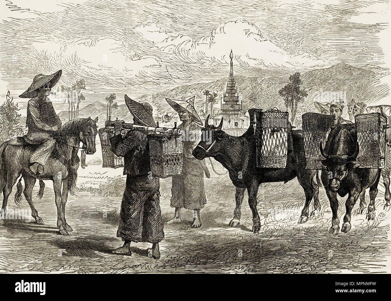 Native Shans pictured in Burma. 19th century Victorian engraving circa 1887 - Stock Image