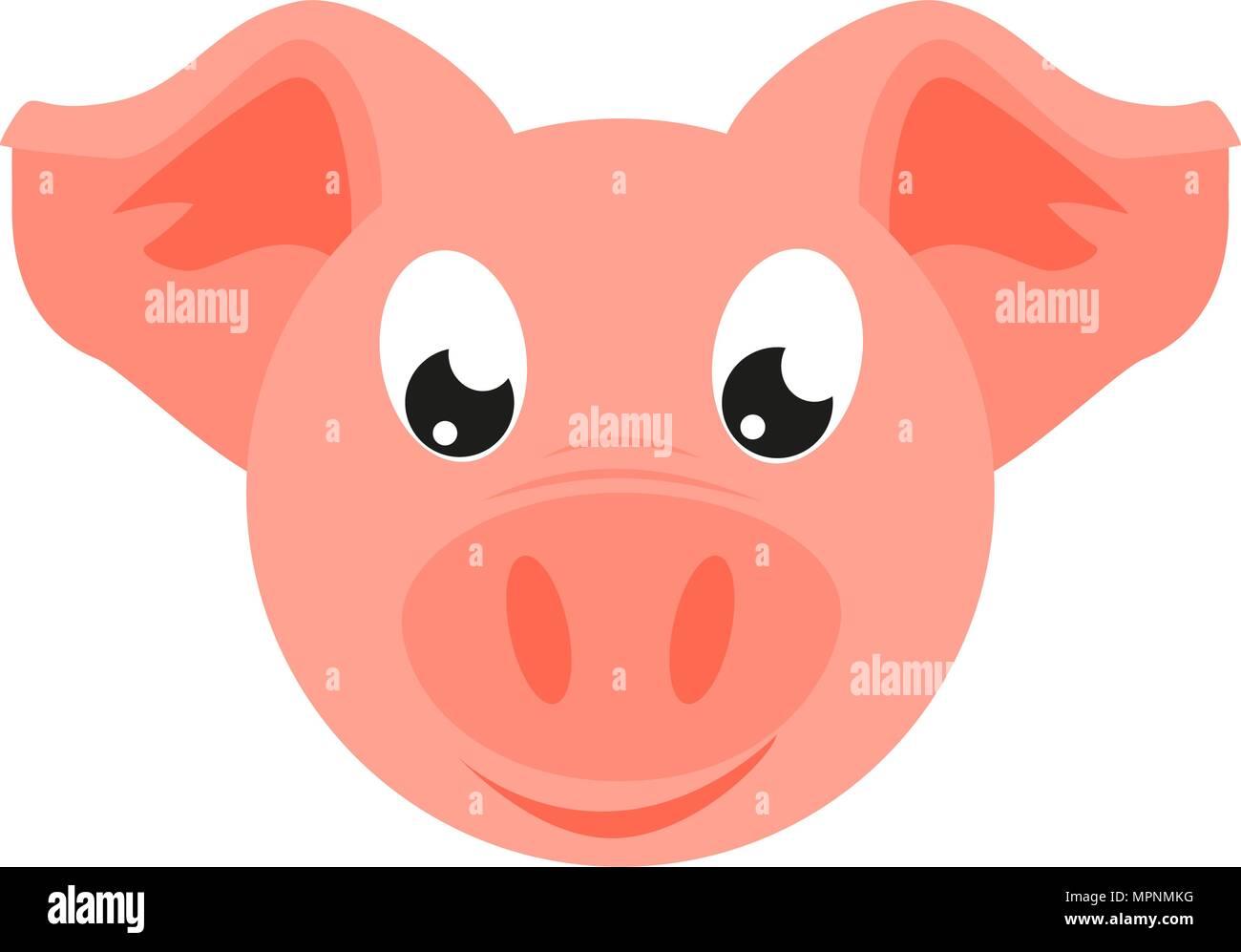 Colorful Cartoon Pig Face 2019 Year Chinese Symbol Farm Animal