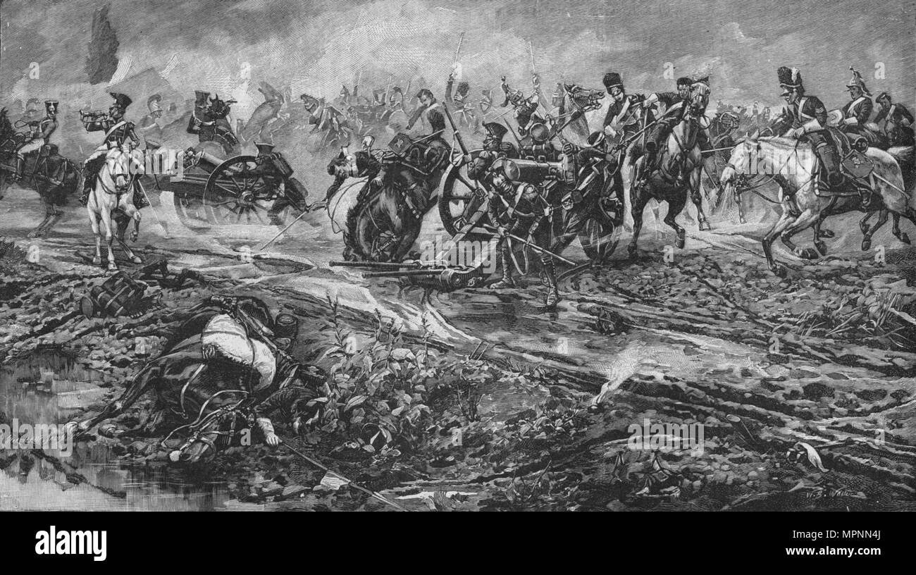 'The Union Brigade Capturing the French Guns at Waterloo', 1902. Artist: William Barnes Wollen. - Stock Image