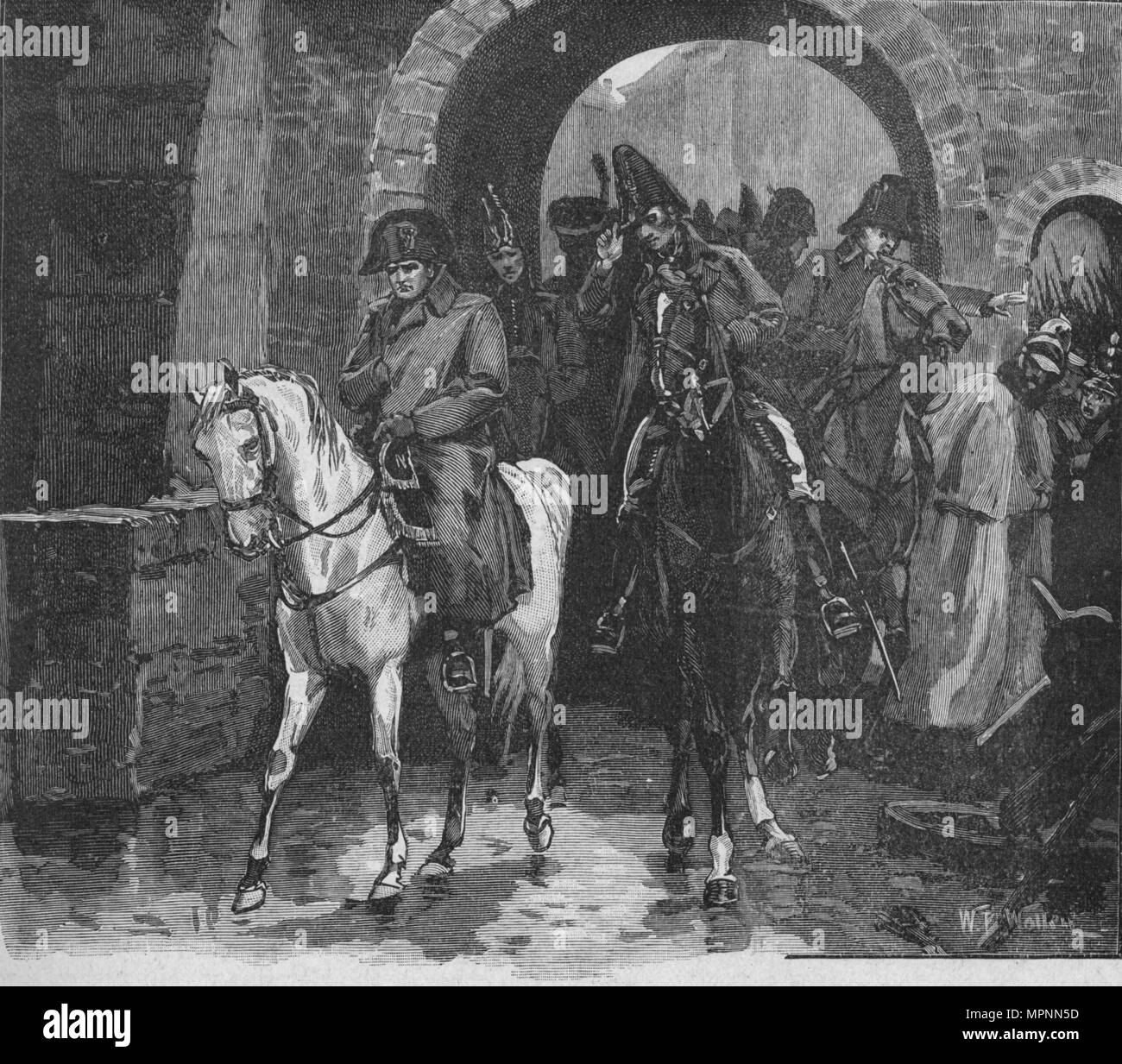 Napoleon Rode Away With A Small Suite Through St. Peter's Gate, 1902. Artist: William Barnes Wollen. - Stock Image