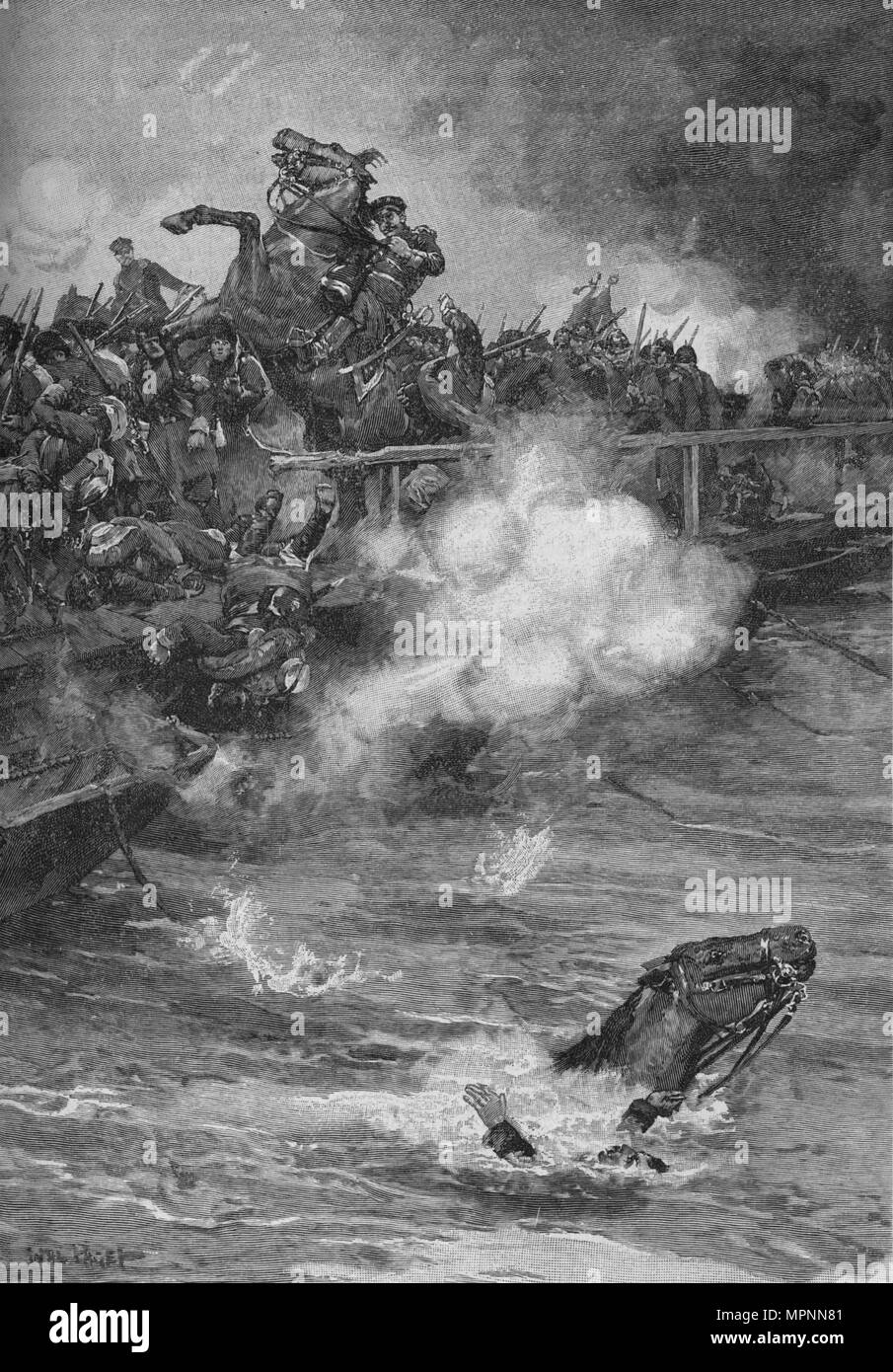 'A Terrible Carnage Ensued Upon The Overcrowded Bridge', 1902. Artist: Walter Paget. Stock Photo