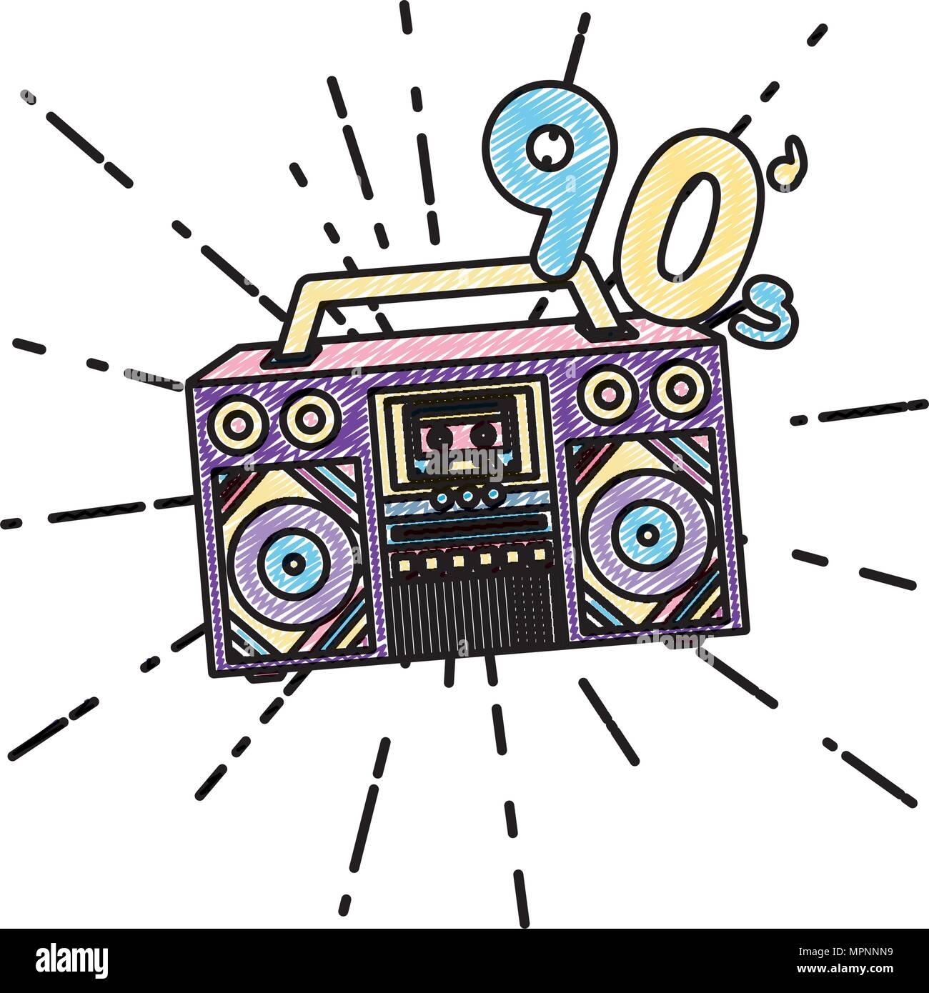 doodle retro radio music 90 trendy music vector illustration Stock Vector