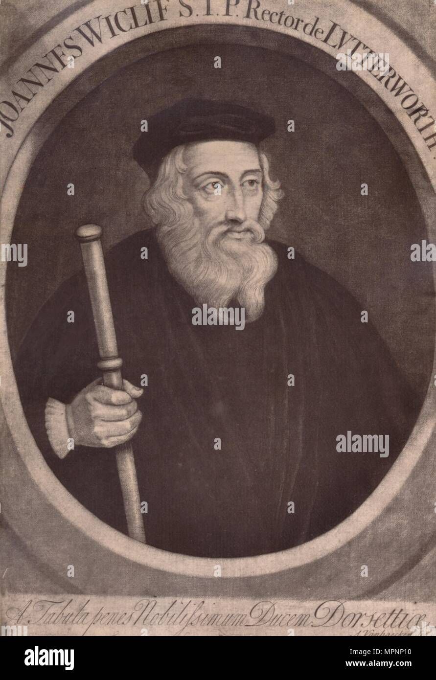 John Wycliffe, English theologian and religious reformer, 18th century (1894). Artist: Alexander van Haecken. - Stock Image