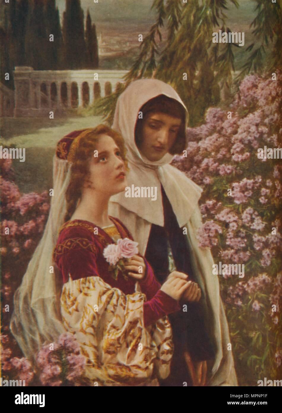 'Dante Aligheri - Dante and Beatrice in the Garden', c1925. Artist: Cesar Saccagi. - Stock Image
