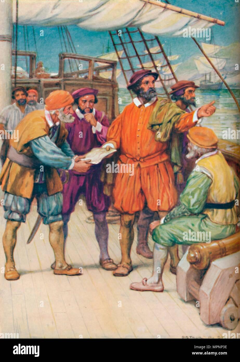 'Magellan Consults with his Navigators',  c1925. Artist: Arthur Percy Dixon. - Stock Image