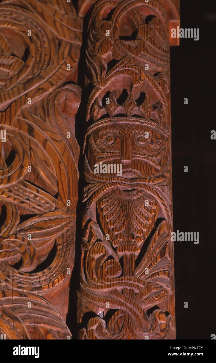 Detail of carving of Stave Church from Gol in Hallingdal, built c1200. Artist: Unknown. - Stock Image