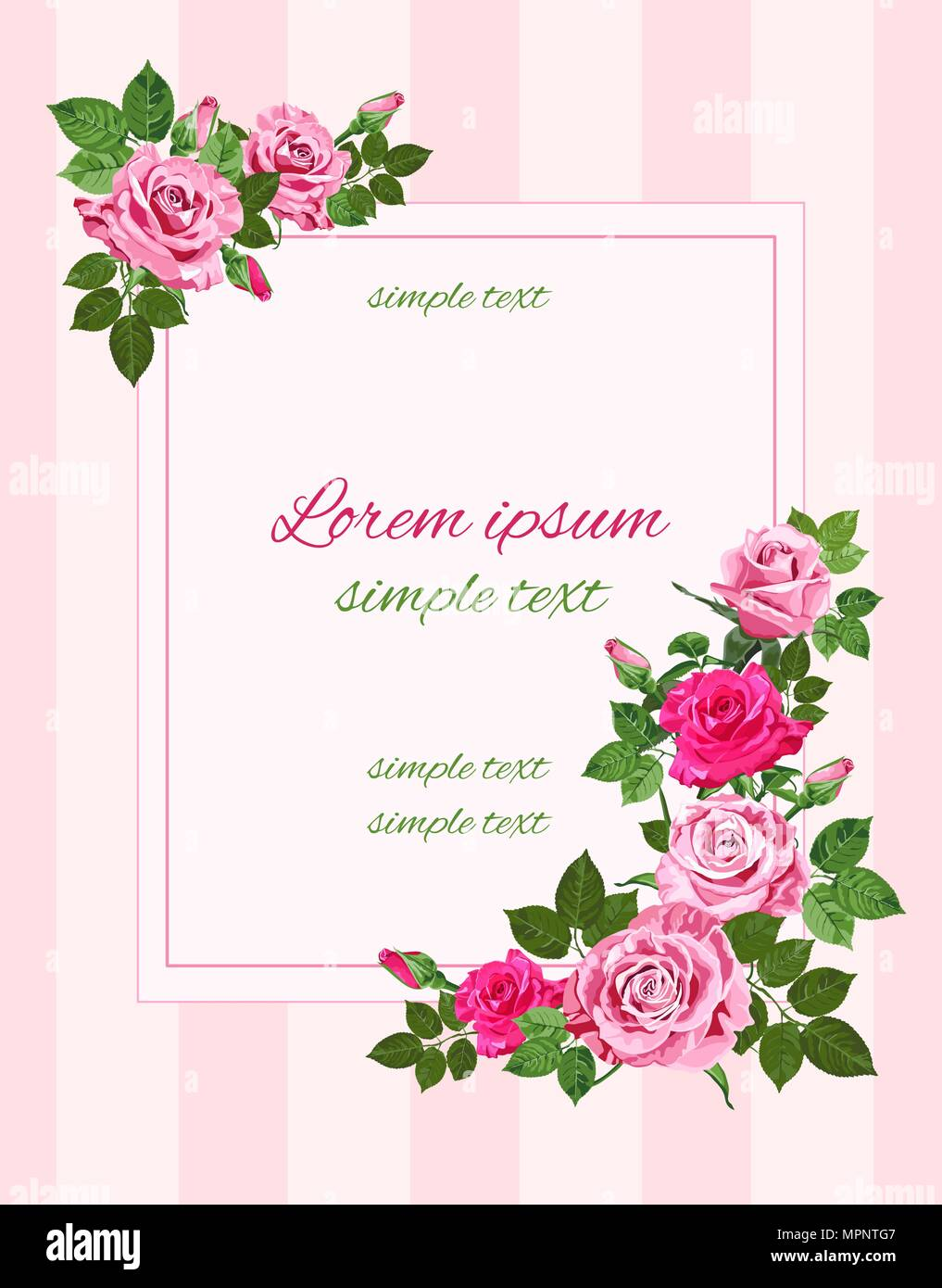 Vector Vintage Wedding Invitations With Pink Roses On The