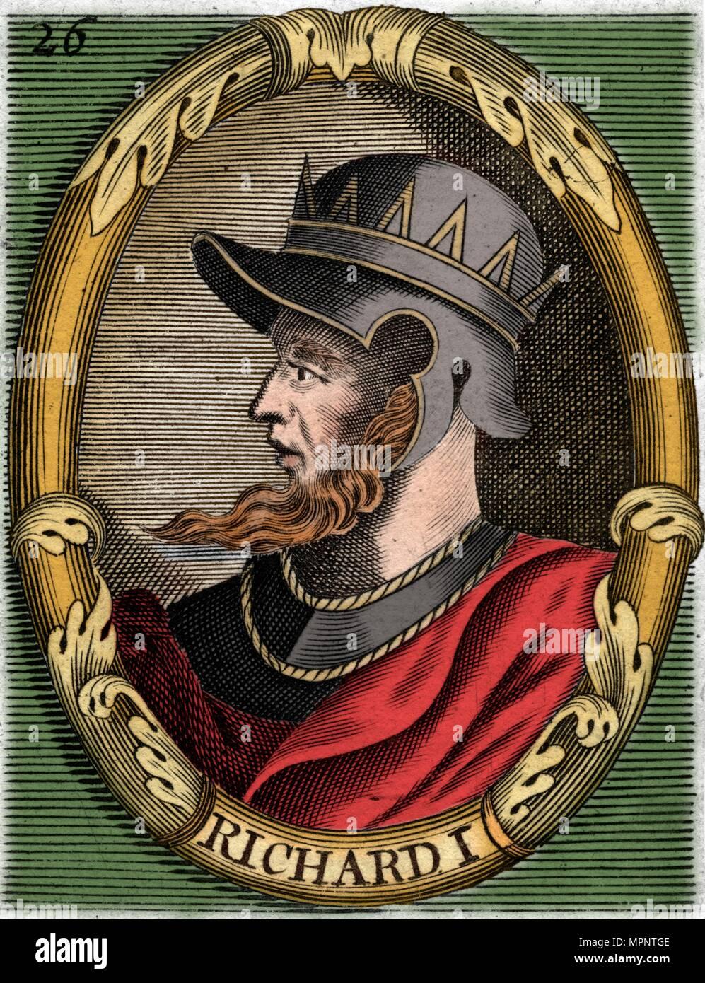 Richard I, King of England. Artist: Unknown. - Stock Image