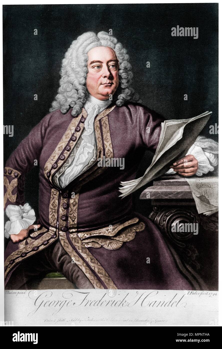 George Frideric Handel, German-born British Baroque composer, 1749. Artist: John Faber the Younger. - Stock Image