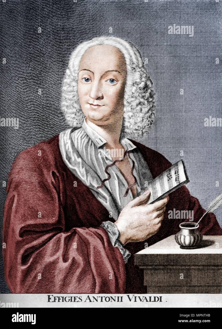 Antonio Vivaldi, Italian Baroque composer, Catholic priest, and virtuoso violinist, 1725. Artist: Peter La Cave. - Stock Image
