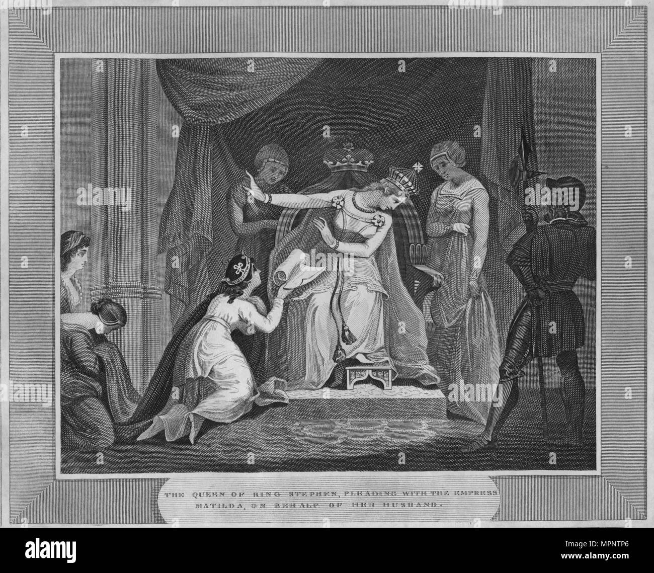 'The Queen of King Stephen, Pleading with the Empress Matilda, on behalf of Her Husband', 1838. Artist: Unknown. - Stock Image