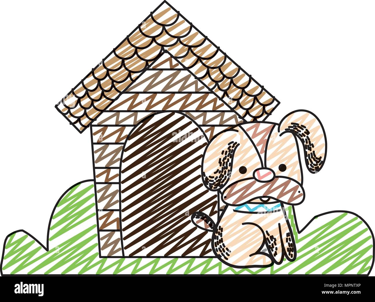 doodle cute dog pet animal with house - Stock Image