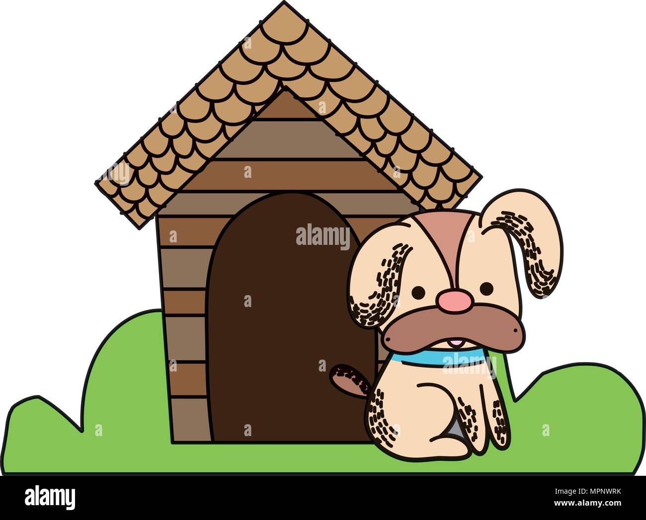 color cute dog pet animal with house - Stock Image