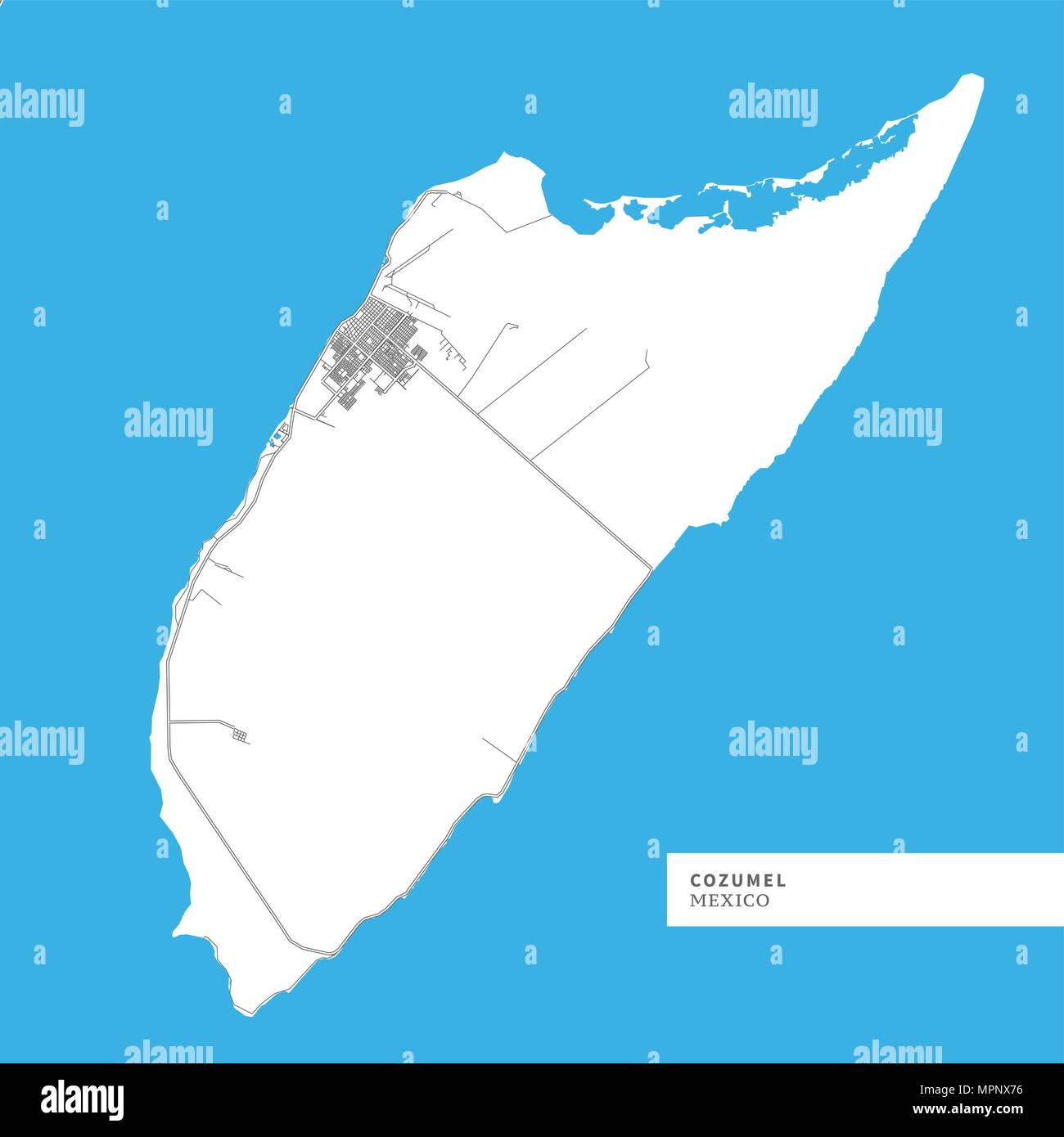 map of cozumel island mexico contains geography outlines for land mass water major roads and minor roads
