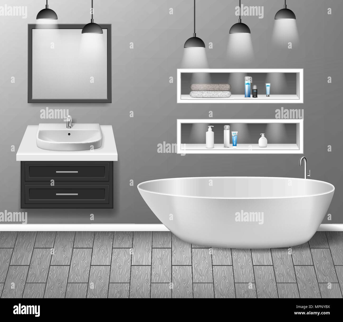 Realistic bathroom furniture interior with modern bathroom sink ...