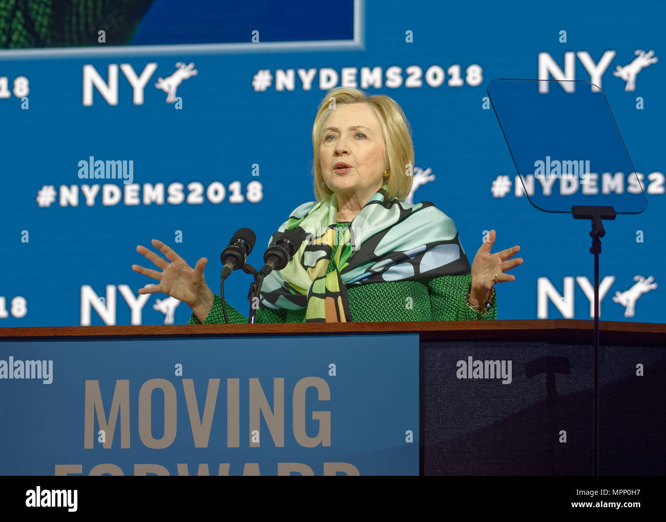 Long Island, USA. 23rd May, 2018. HILLARY CLINTON delivers Keynote Address during Day 1 of New York State Democratic Convention, held at Hofstra University on Long Island. Clinton, the former First Lady and NYS Senator, endorsed the re-election of Gov. A. Cuomo for a third term, and mentioned how Hofstra was the site of her first 2016 debate with Trump. Credit: Ann E Parry/Alamy Live News Stock Photo